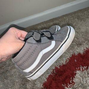 Toddler grey/white vans high top sneaker